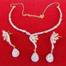 Ethnic Indian Fashion  Jewelry Gold Tone Wedding Diamante Necklace Earrings Set