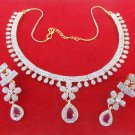 Indian American Fashion Gold & Silver Tone AD Ruby Necklace Earrings Jewelry Set