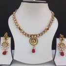 Gorgeous Indian Bridal party jewelry Ethnic Golden Ad Ruby Necklace Earrings Set