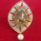 Ethnic Indian Antic Cz Pearl Golden Sari Brooch Pin Wedding Dress Accessory b14