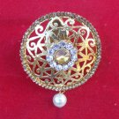 Ethnic Indian Antic Cz Pearl Golden Sari Brooch Pin Wedding Dress Accessory b13