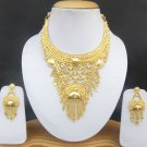 Traditional Indian 22k Gold Plated Fashion Jewelry Wedding Necklace Earrings Set