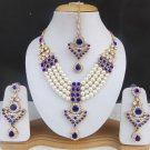 Indian Gold Plated Long Necklace Earrings Ethnic Women Wedding Jewelry Pearl Set