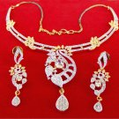 Ethnic Indian Gold & Silver Tone Diamante Party Necklace Earrings Jewelry Set