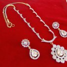 Indian Diamante Fashion Gold & Silver Tone Chain Necklace Earring Jewelry Set 52