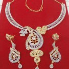 Ethnic Indian American Diamante Party Wear Fashion Necklace Earrings Jewelry Set