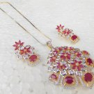 Indian AD Pendant Fashion Gold & Silver Chain Ruby Necklace Earrings Jewelry Set
