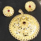 South Indian Fashion Jewelry Ethnic Gold Plated Big Cz Pendant 22k Earrings Set