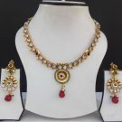Indian Bridal party jewelry Ethnic Gold Tone Ad Ruby Polki Necklace Earrings Set