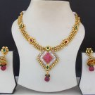 Indian Ethnic Bollywood Gold tone Fashion Jewelry AD Ruby Necklace Earrings Set