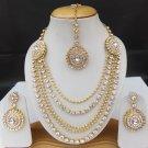 Ethnic Bollywood Fashion Jewelry Gold Tone Kundan Cz Necklace Earrings Tikka Set