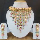South Indian Jewelry Necklace Earrings Chocker Ethnic Gold Plated Cz Choker Set