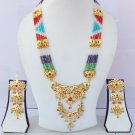 ETHNIC INDIAN FASHION JEWELRY GOLD PLATED BRIDAL PEARL CZ NECKLACE EARRINGS SET