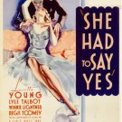 She Had To Say Yes (1933) - Loretta Young  DVD