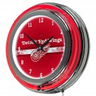 NHL-Detroit Red Wings-Chrome-Double-Rung-Neon-Clock