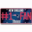 New England Patriots NFL Number One Fan License Plate