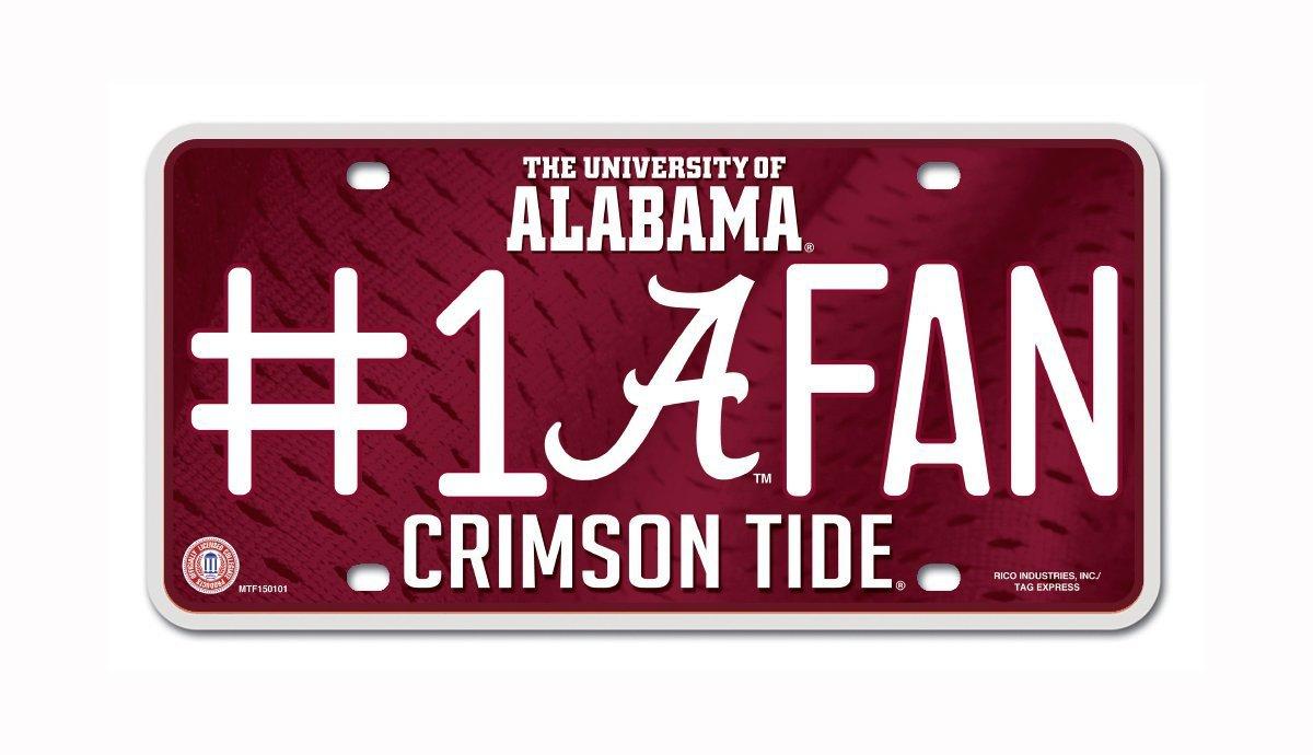 Alabama Crimson Tide NCAA Number One Fan License Plate