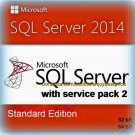 SQL Server 2014 Standard SP2 Edition 32 64bit Lifetime Licence Key Software Pack