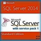 SQL Server 2014 Standard SP1 Edition 32 64bit Lifetime Licence Key Software Pack