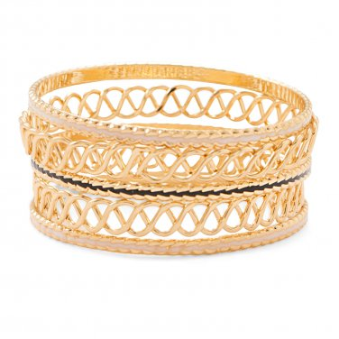 Set of 5 Gold Tone Fashion Bangle Bracelets with Tan and Black Enamel