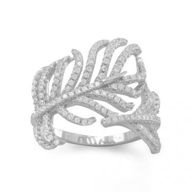 Rhodium Plated Signity CZ Feather Ring