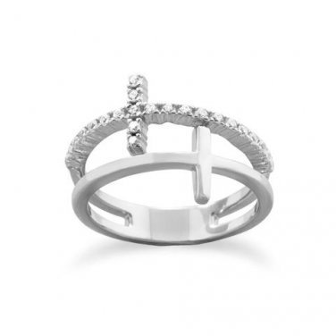 Rhodium Plated Double Cross Ring Size 5-9