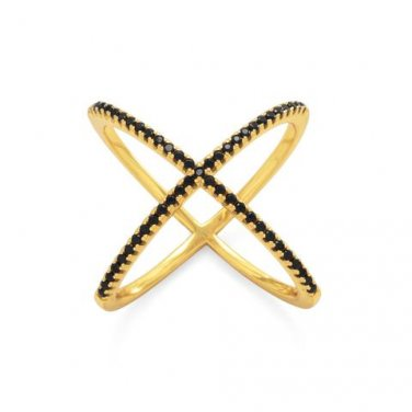 18 Karat Gold Plated Criss Cross 'X' Ring with Black CZs