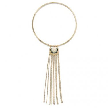 Gold Tone Fashion Collar with Chain Tassel and Howlite