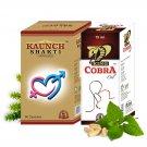 Organic Herbal Male Libido Booster Pills - 60 Capsules + 3 Bottles King Cobra Oil