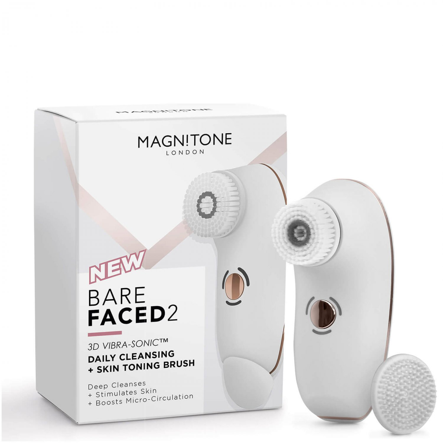Magnitone London BareFaced 2 Daily Cleansing and Skin Toning Brush - White / Pink