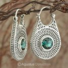 Creole EARRINGS 925 Sterling SILVER & Green Quartz 14.50 g ~ Handmade in Bali