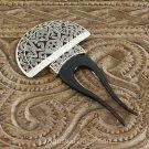 Hair Pin Comb Genuine Sterling SILVER & Bovine Horn 20.90 g ~ Handmade in Bali