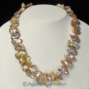 """Rose-Petal Nugget FRESHWATER PEARLS 16"""" Strand Lustrous Natural Multicolor 353ct"""
