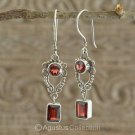Hook EARRINGS Sterling SILVER & Genuine Red Garnet 5.90 g ~ Handmade in Bali