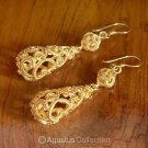 Hook EARRINGS Genuine 24K Gold Vermeil over Sterling SILVER 11.55 g ~ Handmade