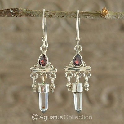 Hook EARRINGS Sterling SILVER, Genuine Red Garnet & Crystal 5.10 g ~ Handmade