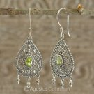 Hook EARRINGS Sterling SILVER & Genuine Green Peridot 5.32 g ~ Handmade in Bali