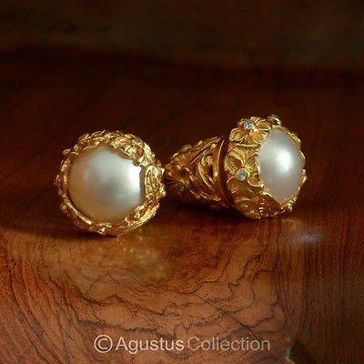 Stud EARRINGS Genuine 24K Gold Vermeil Mabe Pearls 31.60 g ~ Handmade