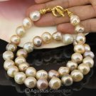 NECKLACE China Multicolor KASUMI Freshwater PEARLS & Gold Vermeil 925 SILVER