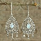 Hook EARRINGS Sterling Silver & Genuine Moonstone 5.90 g ~ Handmade