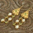 Hook EARRINGS 24K Gold Vermeil Sterling SILVER, Peridot & AustralIan Opal 12 g