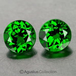 0.80 cts Green Chrome DIOPSIDE Pair Round Faceted Clean Natural Gemstones Russia