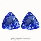 0.86 cts Blue TANZANITE Pair Trillion Facet-cut Clean Natural Gemstones Tanzania