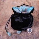 ELEGANT Turquoise SILK & Black Velvet JEWELRY Bag GIFT POUCH Packing