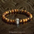 Stretch Bracelet Genuine 925 Sterling SILVER Skull Tiger-Eye 14.00 g ~ Size 6 ½