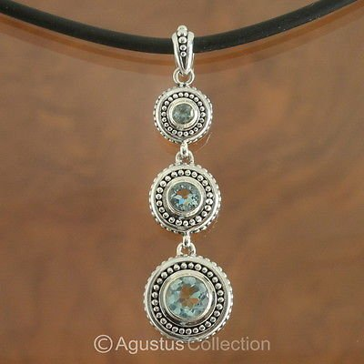 Pendant Genuine Sky Blue Topaz & Sterling SILVER 9.30 g ~ Handmade in Bali