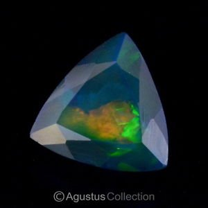 2.54 cts Black WELO OPAL Multicolor Ethiopia Trillion Facet-cut Natural Gemstone