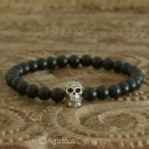 Stretch Bracelet 925 Sterling SILVER Skull ONYX Beads 12.95 g ~ Size 6 ½ inches