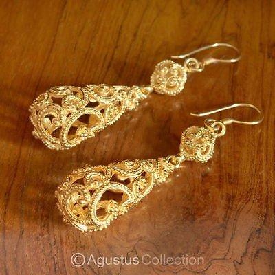 Hook EARRINGS Genuine 24K Gold Vermeil over Sterling SILVER 11.85 g ~ Handmade