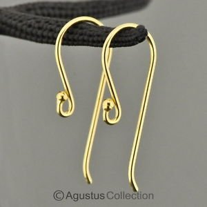 24K Gold Vermeil 925 SILVER Hang-in Hook Earring Pair 3-Micron Gold-Plated 0.62g